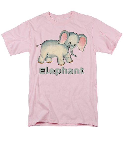 Cute Baby Elephant Pattern Vintage Illustration For Children Men's T-Shirt  (Regular Fit) by Tina Lavoie