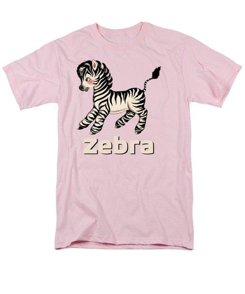 Cute Baby Zebra Pattern Vintage Book Illustration Pattern Men's T-Shirt  (Regular Fit) by Tina Lavoie