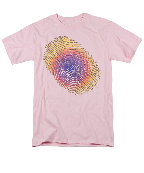 Giant Iridescent Fingerprint On Salmon Roe Pink Set Of 4 - 2 Of 4 Men's T-Shirt  (Regular Fit) by Serge Averbukh