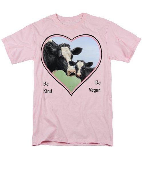 Holstein Cow And Calf Pink Heart Vegan Men's T-Shirt  (Regular Fit) by Crista Forest