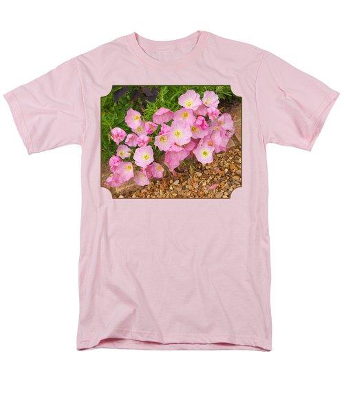 Pretty Pink Rock Roses In The Rain Men's T-Shirt  (Regular Fit) by Gill Billington