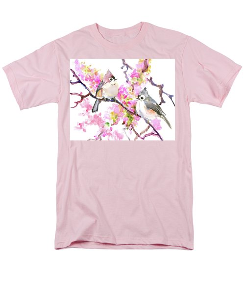Titmice And Cheery Blossom Men's T-Shirt  (Regular Fit) by Suren Nersisyan