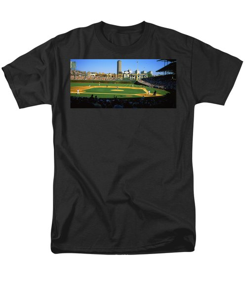 Spectators In A Stadium, Wrigley Field Men's T-Shirt  (Regular Fit) by Panoramic Images
