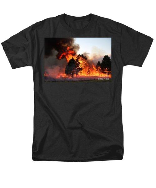 Men's T-Shirt  (Regular Fit) featuring the photograph A Burst Of Flames From The White Draw Fire by Bill Gabbert