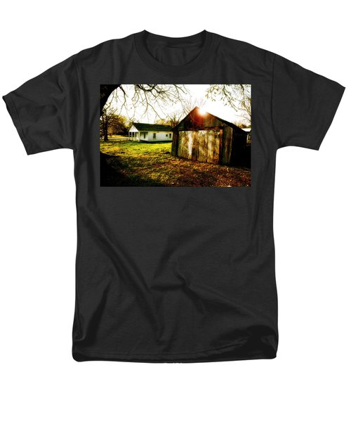 American Fabric   Mickey Mantle's Childhood Home Men's T-Shirt  (Regular Fit) by Iconic Images Art Gallery David Pucciarelli