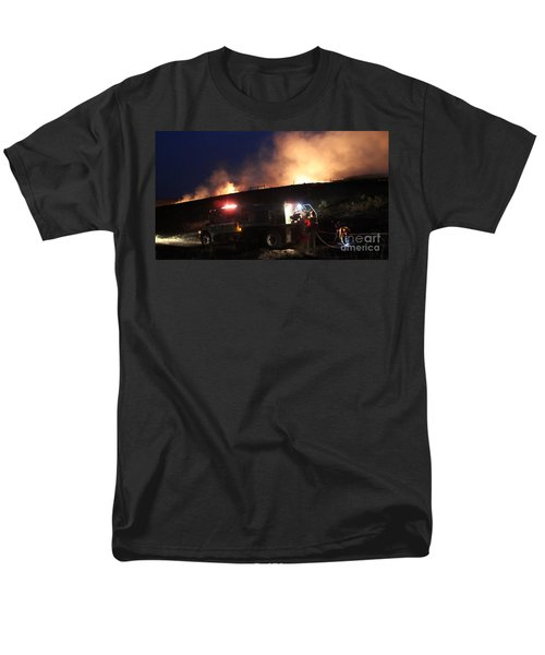 Men's T-Shirt  (Regular Fit) featuring the photograph An Engine Crew Works At Night On White Draw Fire by Bill Gabbert