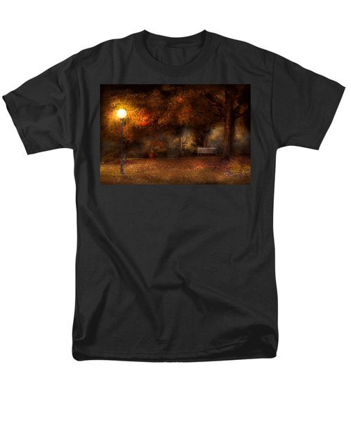 Autumn - A park bench T-Shirt by Mike Savad