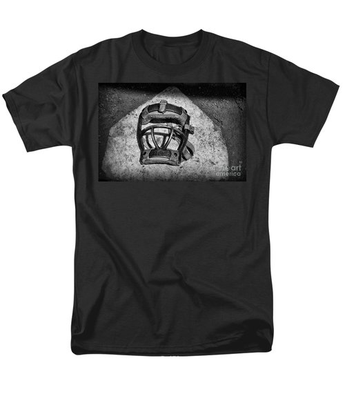 Baseball Catchers Mask Vintage in black and white T-Shirt by Paul Ward