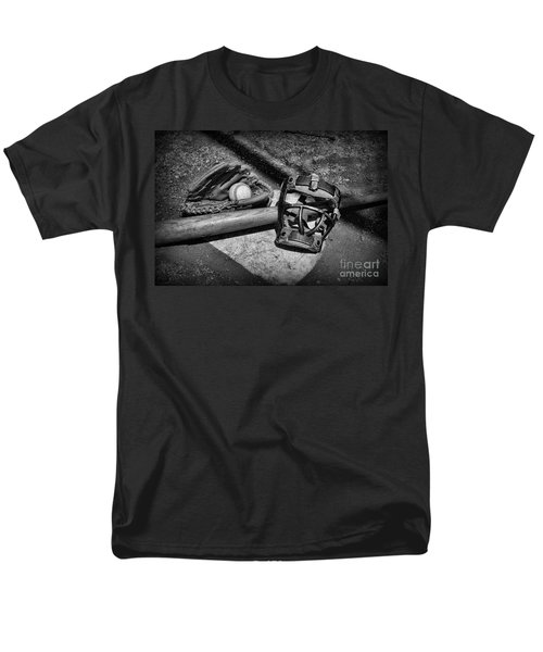 Baseball Play Ball in black and white T-Shirt by Paul Ward