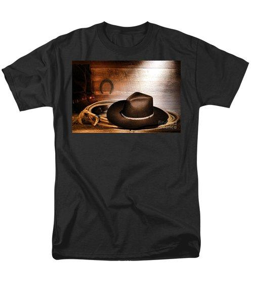Black Felt Cowboy Hat T-Shirt by Olivier Le Queinec