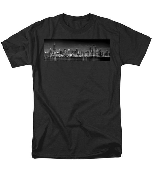 Chicago Skyline at NIGHT black and white T-Shirt by Jon Holiday