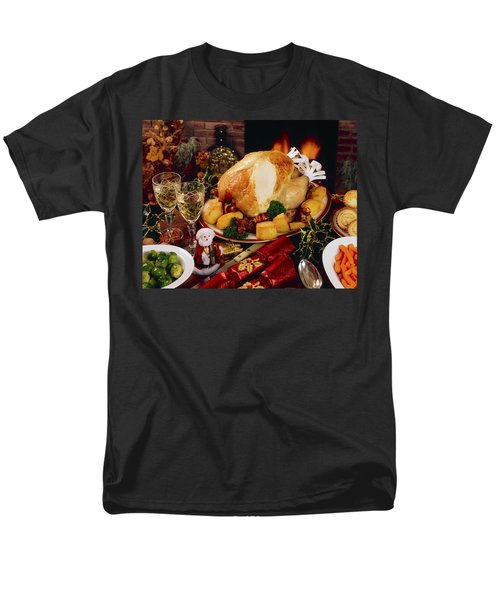 Christmas Turkey Dinner With Wine T-Shirt by The Irish Image Collection