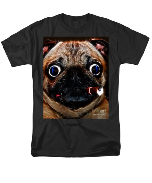 Cigar Puffing Pug - Electric Art T-Shirt by Wingsdomain Art and Photography