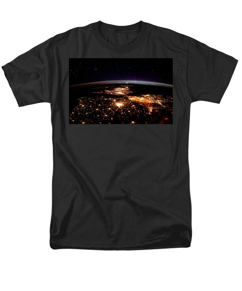Men's T-Shirt  (Regular Fit) featuring the photograph Europe At Night, Satellite View by Science Source