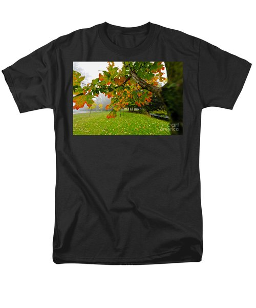 Fall maple tree in foggy park T-Shirt by Elena Elisseeva
