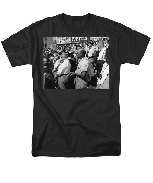 Fans At Yankee Stadium Stand For The National Anthem At The Star Men's T-Shirt  (Regular Fit) by Underwood Archives