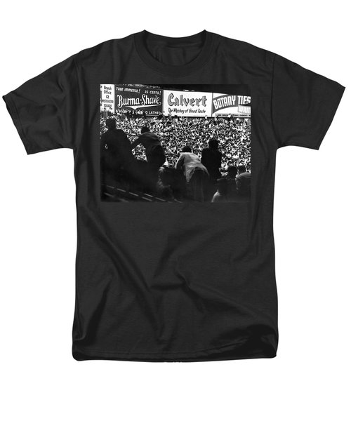 Fans In The Bleachers During A Baseball Game At Yankee Stadium Men's T-Shirt  (Regular Fit) by Underwood Archives