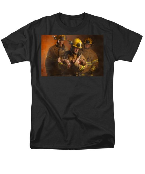 Fire Fighters Rescuing A Baby T-Shirt by Don Hammond