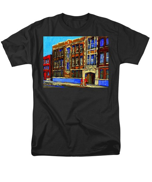 FLASHBACK TO SIXTIES MONTREAL MEMORIES BARON BYNG HIGH SCHOOL VINTAGE LANDMARK ST. URBAIN CITY SCENE T-Shirt by CAROLE SPANDAU