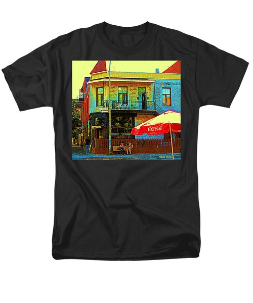 FRIENDS ON THE BENCH AT CARTEL STREET FOOD MEXICAN RESTAURANT RUE CLARK ART OF MONTREAL CITY SCENE T-Shirt by CAROLE SPANDAU