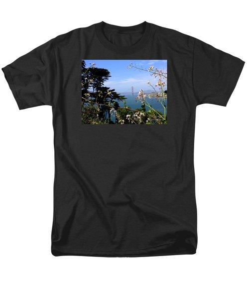 Golden Gate Bridge and Wildflowers T-Shirt by Carol Groenen