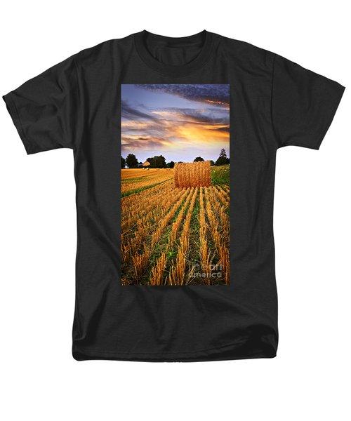 Golden sunset over farm field in Ontario T-Shirt by Elena Elisseeva