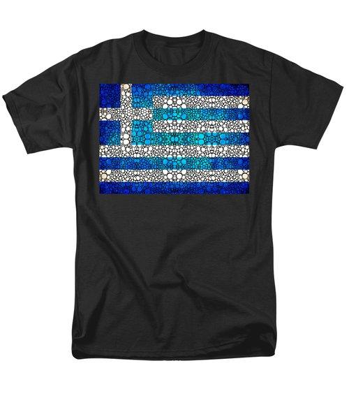 Greek Flag - Greece Stone Rock'd Art By Sharon Cummings T-Shirt by Sharon Cummings