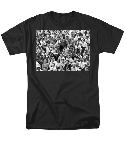 Happy Baseball Fans In The Bleachers At Yankee Stadium. Men's T-Shirt  (Regular Fit) by Underwood Archives