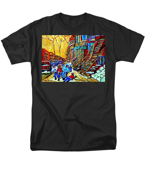HOCKEY ART MONTREAL WINTER SCENE WINDING STAIRCASES KIDS PLAYING STREET HOCKEY PAINTING  T-Shirt by CAROLE SPANDAU