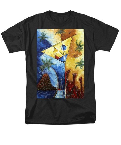 Island Martini  Original Madart Painting Men's T-Shirt  (Regular Fit) by Megan Duncanson