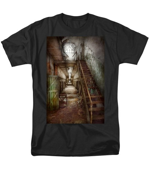 Jail - Eastern State Penitentiary - Down a lonely corridor T-Shirt by Mike Savad