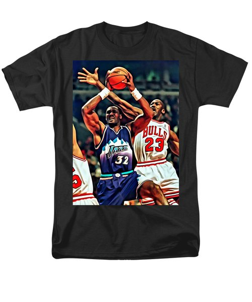 Karl Malone vs. Michael Jordan T-Shirt by Florian Rodarte