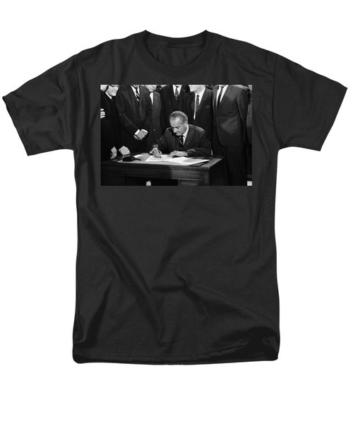 Lbj Signs Civil Rights Bill Men's T-Shirt  (Regular Fit) by Underwood Archives Warren Leffler