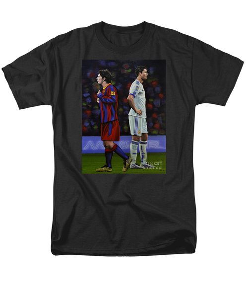 Lionel Messi And Cristiano Ronaldo Men's T-Shirt  (Regular Fit) by Paul Meijering