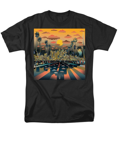 Los Angeles Skyline Abstract 2 Men's T-Shirt  (Regular Fit) by Bekim Art