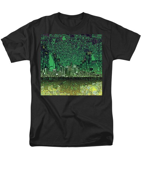 Los Angeles Skyline Abstract 6 Men's T-Shirt  (Regular Fit) by Bekim Art