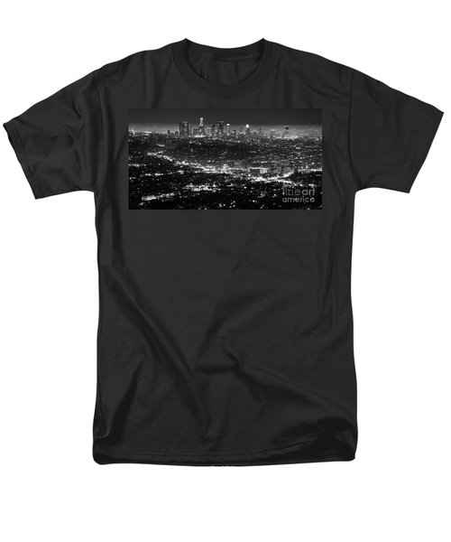 Los Angeles Skyline At Night Monochrome Men's T-Shirt  (Regular Fit) by Bob Christopher