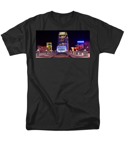 Nashville Sight Night Skyline Pinnacle Panorama Color T-Shirt by Jon Holiday
