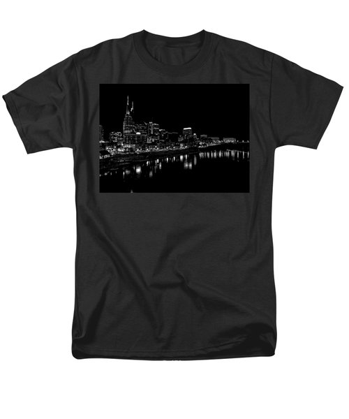 Nashville Skyline At Night In Black And White Men's T-Shirt  (Regular Fit) by Dan Sproul
