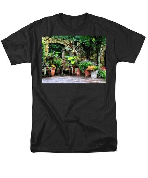 Patio Garden in the Rain T-Shirt by Susan Savad