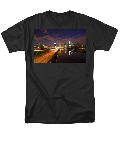 Philadelphia Cityscape from South Street at Night T-Shirt by Bill Cannon