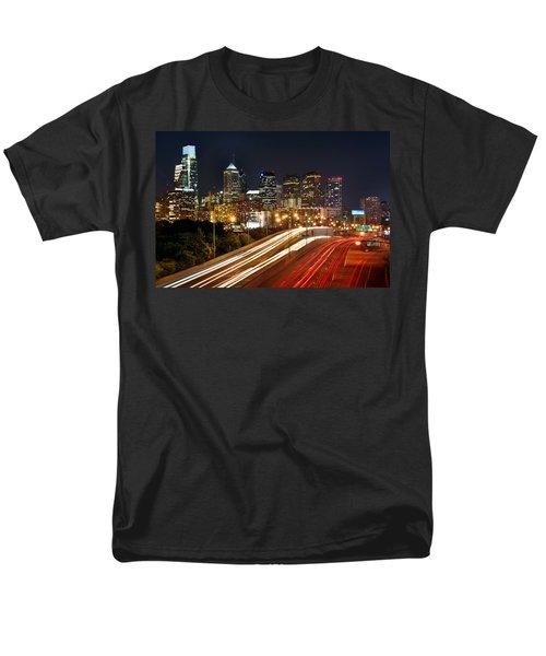 Philadelphia Skyline At Night In Color Car Light Trails Men's T-Shirt  (Regular Fit) by Jon Holiday
