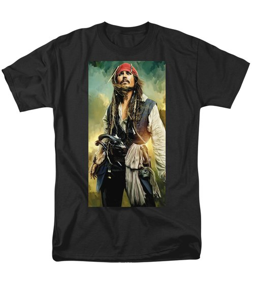 Pirates Of The Caribbean Johnny Depp Artwork 1 Men's T-Shirt  (Regular Fit) by Sheraz A