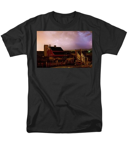 Red Barn On The Farm and Lightning Thunderstorm T-Shirt by James BO  Insogna