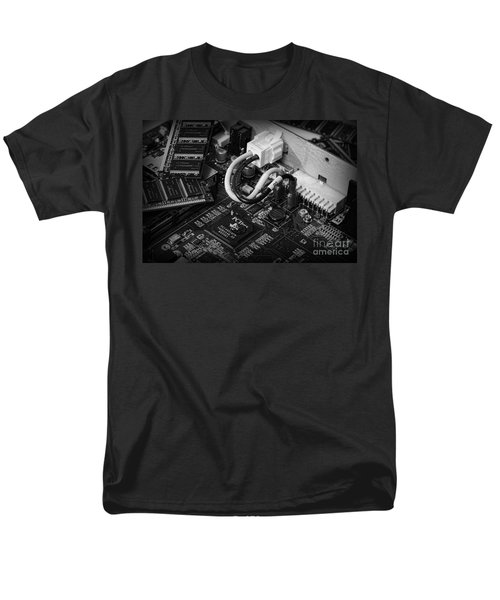 Technology - Motherboard in black and white T-Shirt by Paul Ward