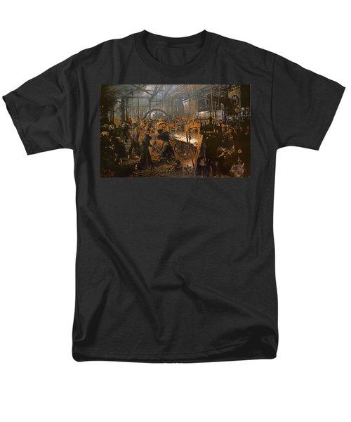 The Iron-rolling Mill Oil On Canvas, 1875 Men's T-Shirt  (Regular Fit) by Adolph Friedrich Erdmann von Menzel