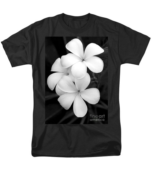 Three Plumeria Flowers in Black and White T-Shirt by Sabrina L Ryan