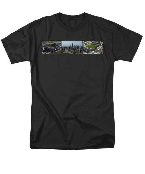 US Cellular and Wrigley Field Chicago BaseBall Parks 3 Panel Composite 02 T-Shirt by Thomas Woolworth