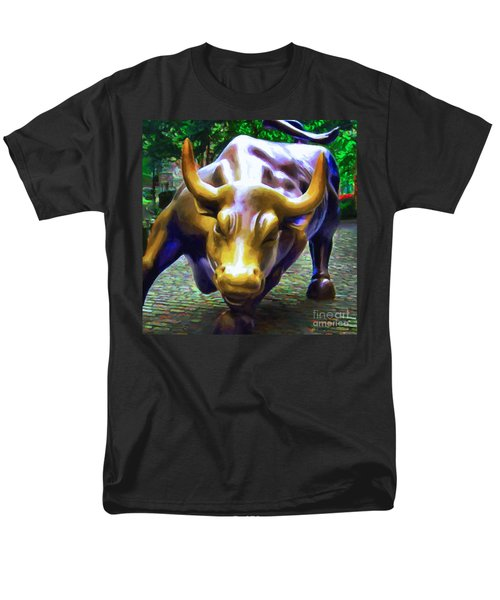 Wall Street Bull v2 - square T-Shirt by Wingsdomain Art and Photography