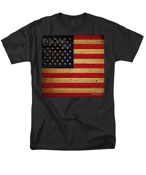 We The People - The US Constitution with Flag - square v2 T-Shirt by Wingsdomain Art and Photography